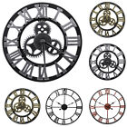 12 16 23 Large Garden 3D Wall Clock Roman Numerals Gear Round Indoor/Outdoor