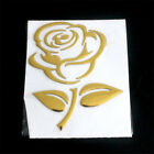 4pcs Car Elegant Charm Rose 3D Sticker Reflective Decal Window Vinyl Cover Gold