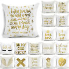 Gold Letters Throw Pillow Case Sofa Car Cushion Cover Home Decor image