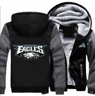 New Philadelphia Eagles Hoodie Zip up Jacket Coat Winter Warm Black and Gray $15.99 USD on eBay