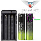 12* 18650 Battery 5800mAh 3.7V Li-ion Rechargeable+Charger For Flashlight Torch