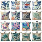 Ocean Style Sea Animals Cotton Linen Throw Pillow Case Cushion Cover Home Decor image