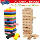 54pcs Wooden Stacking Tumbling Tower Building Blocks Children Kid Toys Game MT