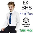Ex BHS Boys School Shirt (PACK OF 2) White Short Long Sleeve Non Iron Ages 4-16