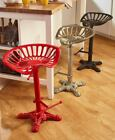 Adjustable Cast Iron Tractor Seat Bar Stool Industrial Style Country Home Decor