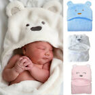 Newborn Infant Baby Soft Flannel Hooded Blanket Bath Towel Kids Animal Bathrobe
