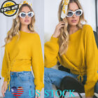 Women Corset Lace-Up Tops Solid Slim Fit Short Knitting Sweater Stylish Pullover