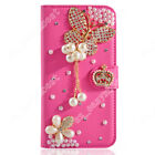 Leather Wallet Phone Case Crystal Bling Diamond Flip Stand Cover For HTC