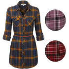 KOGMO Womes Long Sleeve Button Front Belted Plaid Checker Shirt Dress
