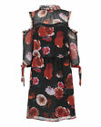 Womens Floral Print Lace Trim Frill Dress Simply Be