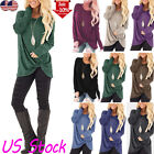 Womens Winter Long Sleeve Crew Neck Trim Blouse Tops Pullover Sweater Shirts USA