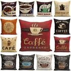 "18"" Vintage/Retro Coffee Cup Pillowcases Home Décor Cotton Linen Cushion Cover image"