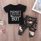 FM- LK_ Baby Boys Summer Outfit MAMA'S BOY Letters T-Shirt Camouflage Long Pants