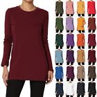 TheMogan S~3XL Crew Neck Long Sleeve Top Stretch Cotton Turtle Slim Fit T-Shirt