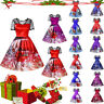 Christmas Women Short Sleeve Lace Patchwork Printing Vintage Gown Party Dress US
