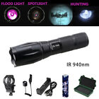 Long Range IR 940nm 7W Night Vision Infrared LED Zoomable Flashlight Rifle Mount