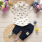 Summer Toddler Baby Kids Boy Shirt Tops+Pants Gentleman Outfits Clothes Set AB