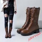 Womens Lace Up Mid Calf Riding Boots Block Heels Biker Boots Shoes Black/Brown
