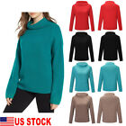 US Women Loose Sweater Solid Turtle Neck Long Sleeved Knit Pullover Sweater S-XL