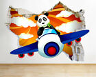 J776 Panda Aeroplane Sky Kids Cool Wall Stickers Bedroom Girls Boys Living Room