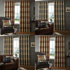 Catherine Lansfield Brushed Heritage Check Woven Eyelet Lined Curtains