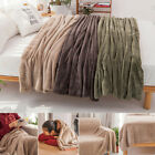 Soft Flannel Fleece Cuddly Throw Sofa Blanket Bedroom Bedding Plush Warm Solid image