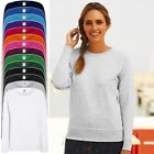 New Fruit Of The Loom Womens Sweatshirt Plain Sweater Jumper Top Pullover Lot