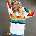 Women Ladies Rainbow Prite Long Sleeve Loose Tops Pullover Casual T Shirt Blouse <br/> ✅CASUAL✅US SELLER✅FREE DELIVERY✅EXTRA 12% OFF 2+ ITEMS✅