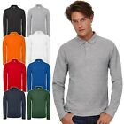 New B&C Mens Smart Casual Work Long Sleeve Polo Shirt Cotton Top 8 Colour XS-4XL