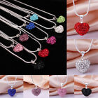925 Silver Sterling Pendant Crystal Heart Necklace Chain Women Fashion Jewelry