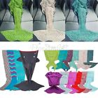 Kids Adults Mermaid Tail Knitted Blanket Crocheted Sleeping Bag Winter Gifts UK
