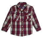 Casual Western Plaid Shirt Boys Long Sleeve Pearl Snap Baby Size 12 Months 2T -7