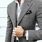 Men Houndstooth Dogstooth Blazer Suits Checkered Dinner Prom Tuxedos Suit Custom