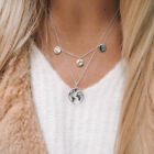 Round Constant World Map Pendant Necklace Geometric Silver Golden Clavicle Chain