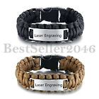 Personalized Custom Mens Braided Rope Stainless Steel ID Tag Wristband Bracelet