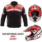 Kids Childrens Waterproof CE ARMOURED Motorcycle Motorbike Helmet Cordura Jacket
