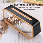 Mirror LED Display bluetooth Audio Speaker Alarm Clock TF AUX FM Radio Handsfree