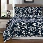 Elegant and Floral Modern Lucy Cotton Navy & White 3-Piece Duvet Cover Set image