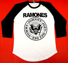 The RAMONES T-shirt Distressed Punk Rock Raglan Baseball Tee Mens 3/4Sleeve New image