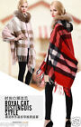 Real Genuine Wool Cashmere Cape Raccon Fur Collar Wrap Scarf Poncho Hoodie New