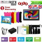 "7"" Quad Core Android 4.4 Tablet Pc Dual Camera Hd Bundle Case For Kids Gift New"
