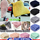 Merino Wool Chunky Knitted Blanket Thick Yarn Throw Arm Knit Blanket Sofa Cover image