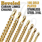 "18K Gold Plated Beveled Cuban Links Stainless Steel 316L Chain Necklace 14""-48"""