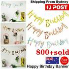 Rose Gold/gold/silver Happy Birthday Banner Bunting Garland Party Decorations Au
