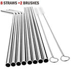10pc Reusable Drinking Straw Stainless Steel Metal Straws Wide Straw Smoothies