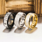 8mm Jesus Christian Cross Prayer Band Ring Stainless Steel Titanium Men Women image