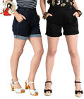 HELL BUNNY YAZ turn-up NAVY BLACK DENIM rockabilly SHORTS XS-4XL