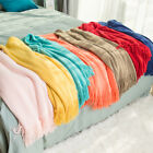 Solid Color Throw Blanket Soft Warm Spring Fringe Tassel Home Decor Sofa Bedding image