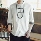 US S-5XL Vintage Men 100% Cotton Casual 3/4 Sleeve Solid Chinese Style Shirts