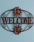 Metal Wall Decor Welcome or Blessed Sign Wall Mounted Plaque Outdoor Indoor Home